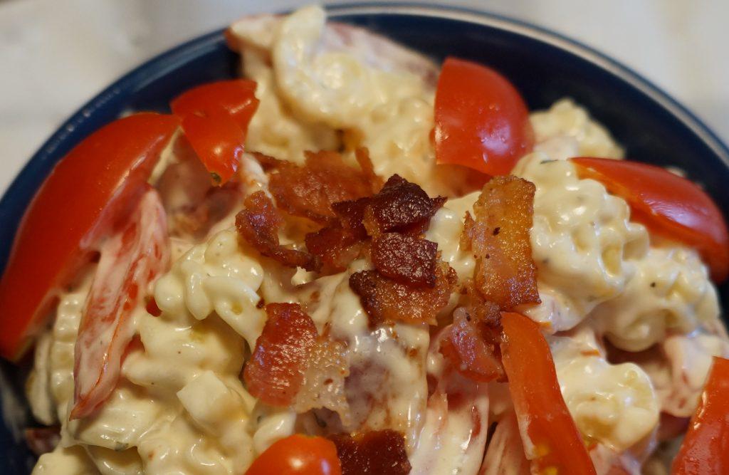 creamy bacon tomato pasta salad