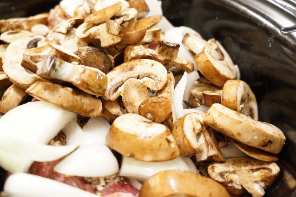 savory beef roast with mushrooms