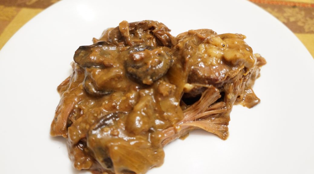 savory beef roast with mushrooms